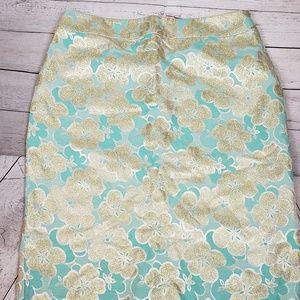 Banana Republic Teal & Gold Silk Blend Skirt